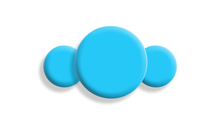 Leadership concept with cyan blue balls on white photo