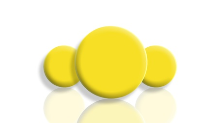 Leadership concept with yellow spheres mirrored and isolated on white photo