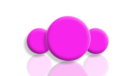 Female leadership concept with pink balls mirrored and isolated on white photo