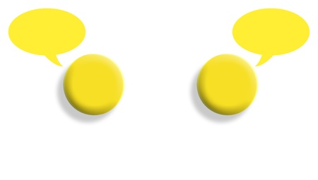 Interior dialog conceptual illustration with mirrored yellow ball on white illustration
