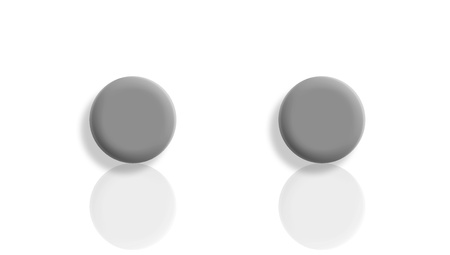 Two grey black balls reflected and isolated on white background