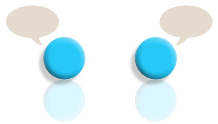 Internal dialogue concept with mirrored cyan blue balls conceptual illustration
