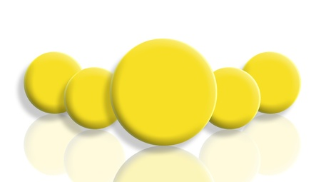 Group of yellow smiles balls from back with a leader mirroring and isolated on white photo