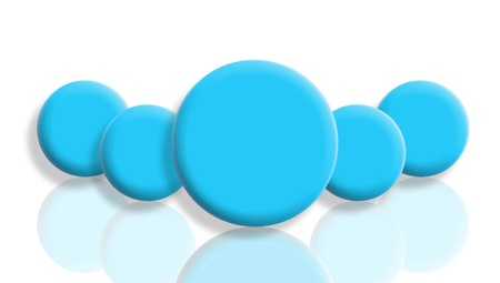 Male leadership concept with a group of cyan blue balls reflected and isolated on white photo