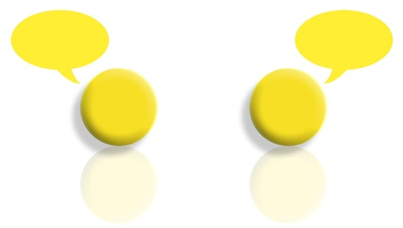 Mirroring yellow balls abstract speech isolated on white background photo