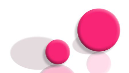Changed roles concept with pink balls with shadow and reflection exchanged