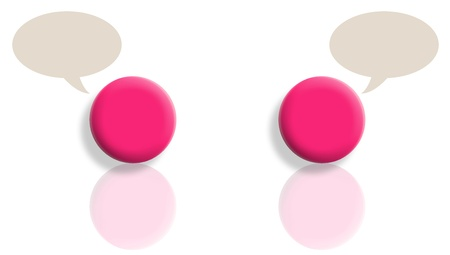 Two pink talking with reflections and copyspace in bubbles