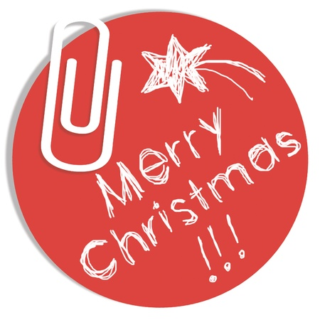 Merry Christmas message on red circular paper photo