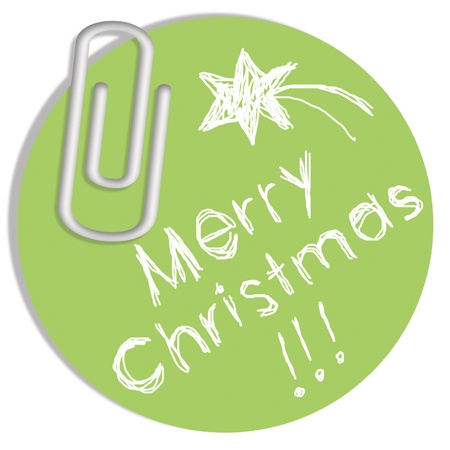 Light Merry Christmas message on green circular paper photo