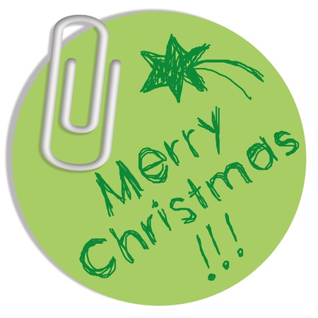 Merry Christmas in circular green paper with star photo