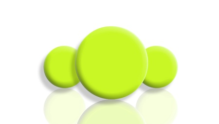 Three green sport balls reflected and isolated on white