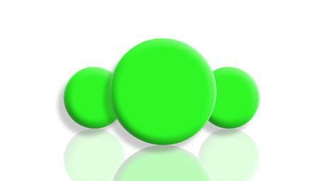 Three green toy balls reflected and isolated on white Stock Photo