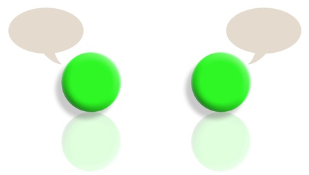 Two green talking balls with reflections and copyspace in bubbles photo