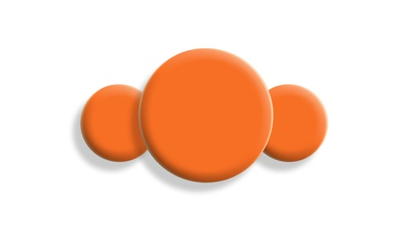 Three orange gum toy balls isolated on white background photo