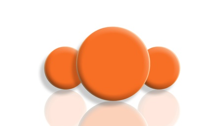 Three orange toy balls reflected and isolated on white photo