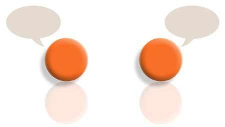 Two orange balls talking with reflections and copyspace in bubbles