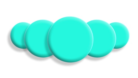 Five turquoise blue balls perspective isolated on white background photo