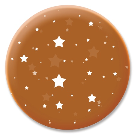 cupper: Cupper starry night sky circular pin button icon isolated on white Stock Photo
