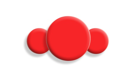 Three red gum toy balls isolated on white background photo