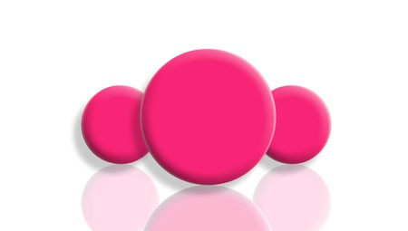 Three pink toy balls reflected and isolated on white photo