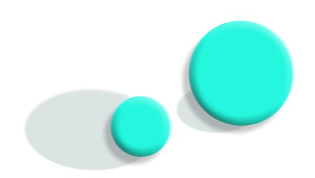 Changed roles concept with light blue balls with shadows exchanged