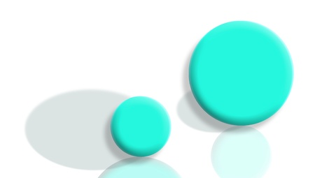 Changed roles concept with aqua blue sport balls with shadows and reflections change