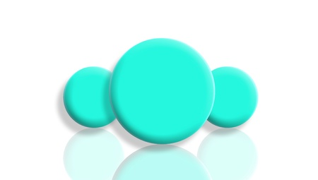 Three aqua blue toy balls reflected and isolated on white photo
