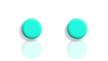Two aqua blue balls reflected and isolated on white