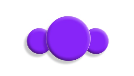 Three violet gum balls isolated on white background photo