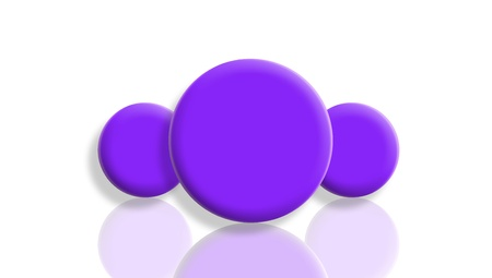 Three purple toy balls reflected and isolated on white