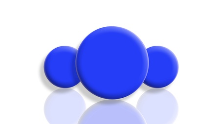 Three blue toy balls reflected and isolated on white photo