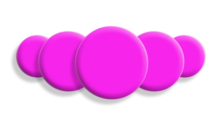 Five pink toy balls in perspective isolated on white