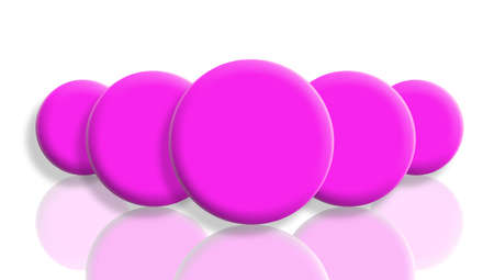 Five pink toy balls in perspective reflected on white photo