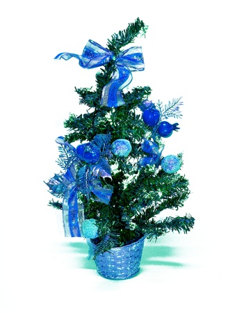 ornamentations: Blue xmas tree isolated on white