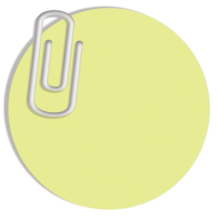 Pale green blank circular post it notes paper with a clip isolate don white photo