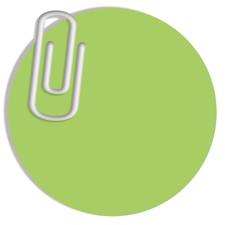 Light green circular paper note with a clip with copy space photo
