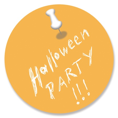 Orange Halloween party memory note with pin photo