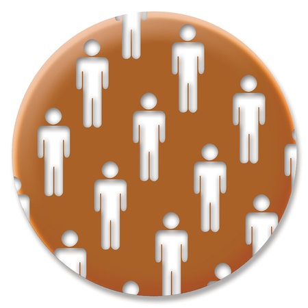 cupper: Men silhouettes in a cupper metallized circular machist button Stock Photo