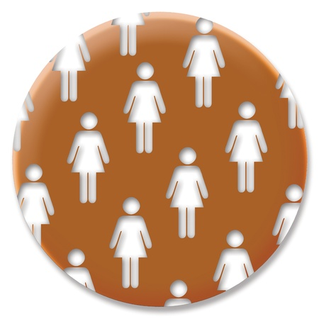 cupper: Cupper circular button for feminism with women silhouettes Stock Photo