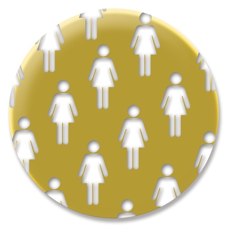 Golden circular feminist pin or button with women silhouettes