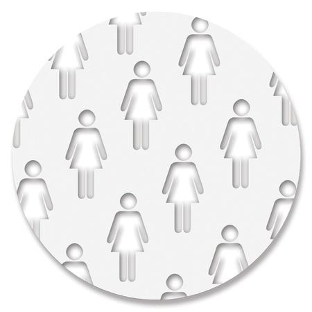 feministische: Circulaire feministische speldpictogram met vrouwen silhouetten