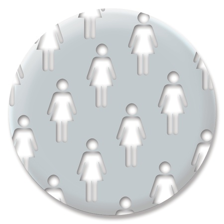 Silver feminist pin with women silhouettes