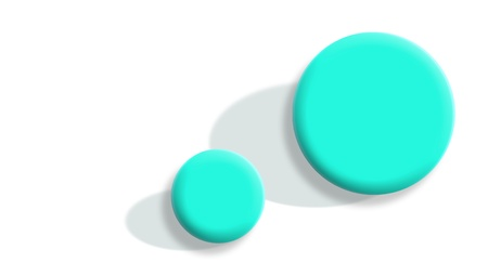 contradiction: Two 3d aqua blue balls with sizes difference isolated on white background