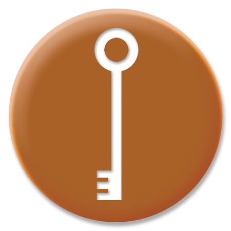 hole in one: Metallic circle of cupper key icon isolated on white