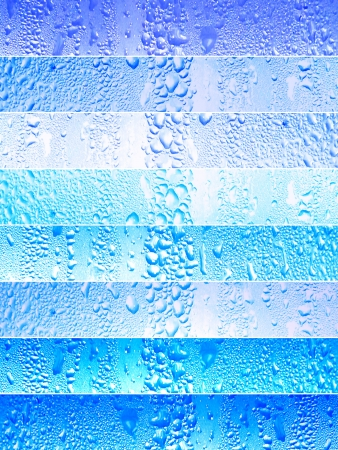 Blue banners background with waterdops textured on cold glass surfaces photo