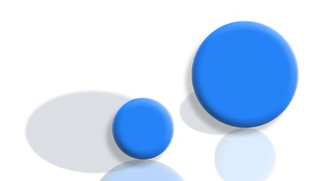 Small and big concepts, smaller and bigger roles with blue reflected balls on white Stock Photo