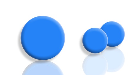 bigger: Bigger ball and two smaller in blue isolated on white with reflections