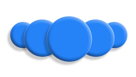 Five cyan blue balls perspective isolated on white background Stock Photo - 21131177