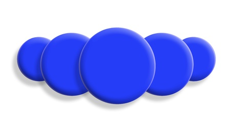 Five dark blue balls perspective isolated on white background photo