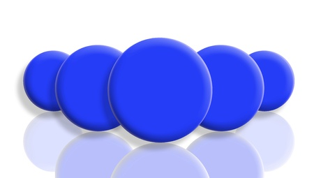Five blue balls in perspective reflected and isolated on white background photo